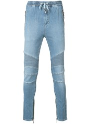 Balmain Biker Denim Track Pants Blue
