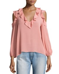 Alice Olivia Gia Cold Shoulder Ruffle Blouse Light Pink