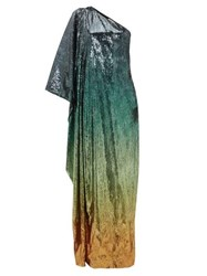 Mary Katrantzou Isolde Gradient Sequinned One Shoulder Gown Green Multi