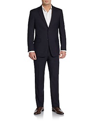 Tommy Hilfiger Slim Fit Tonal Stripe Wool Suit Navy