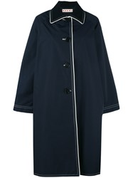 Marni Ornella Coat Women Silk Cotton Nylon Triacetate 40 Blue