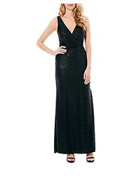 Laundry By Shelli Segal Sleeveless Foil Gown Gunmetal