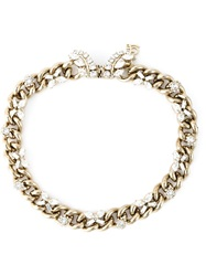 Ermanno Scervino Crystal Chain Necklace Metallic