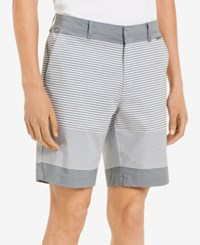 Calvin Klein Men's Slim Fit Flat Front Striped 9 Shorts High Rise