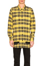 Off White Diagonal Spray Check Shirt In Yellow Checkered And Plaid Yellow Checkered And Plaid