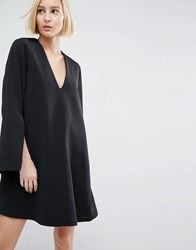 Asos White Mini Dress With Square V Neck Black