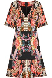 Etro Printed Silk Crepe Mini Dress Black
