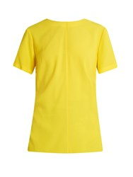 Proenza Schouler Knot Back Satin Back Crepe Top Yellow