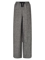 East Linen Wide Leg Trousers Black