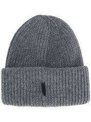 Golden Goose Deluxe Brand Classic Knitted Beanie Hat Wool Grey