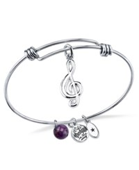 Unwritten Music Compass Charm And Crystal 8Mm Bangle Bracelet In Stainless Steel