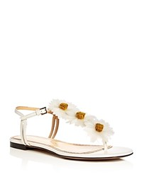 Charlotte Olympia Posey Flower Embellished T Strap Sandals White