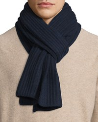 Goodman's Ribbed Cashmere Scarf Navy