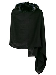 Charlotte Simone Raccoon Fur Lined Hooded Scarf Black