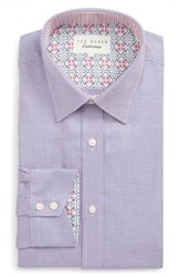 Ted Baker Big And Tall London Shell Trim Fit Print Dress Shirt Pink