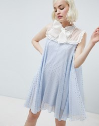 Sister Jane Smock Dress With Pussybow In Sparkle Fabric Light Blue