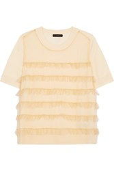 J.Crew Waverly Ruffled Tulle Paneled Merino Wool T Shirt Cream