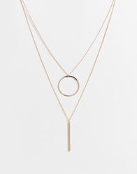 Warehouse Circle And Bar Double Necklace Gold