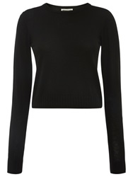 Whistles Cropped Crew Neck Jumper Black