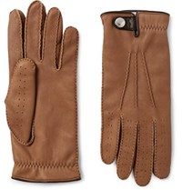 Brunello Cucinelli Shearling Lined Leather Gloves Brown