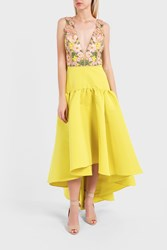 Marchesa Notte Women S Embroidered High Low Dress Boutique1 Yellow