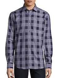 Bugatchi Checkered Cotton Button Down Shirt Midnight