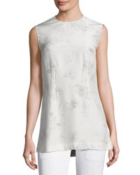Calvin Klein Flower Print Silk Shell Top Gray