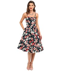 Unique Vintage Darcy Fit Flare Sweetheart Dress Navy Floral Women's Dress