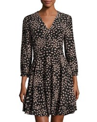 Rebecca Taylor Aster Floral Long Sleeve Silk Dress Black