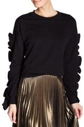 Tov Drop Shoulder Sweater With Ruffle Sleeves Black