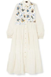 Loewe Paula's Ibiza Sequin Embellished Striped Poplin Dress White
