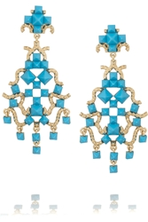 Valentino Enameled Gold Tone Clip Earrings