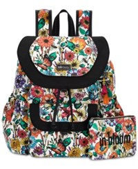 Sakroots Flap Backpack With Pouch Optic In Bloom Silver