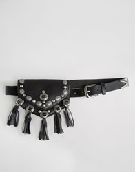 Asos Western Plate And Tassel Waist And Hip Purse Belt Black