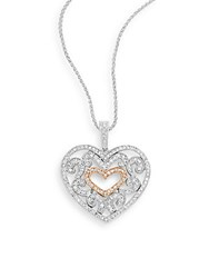 Effy Diamond 14K White And Rose Gold Heart Pendant Necklace