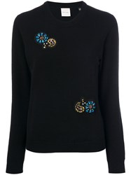 Paul Smith Embellished Patch Sweater Cashmere M Black