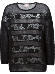 Giamba Sheer Lace Panel Sweater Black