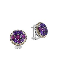 Effy Amethyst Rhodolite Sterling Silver And 18K Yellow Gold Button Stud Earrings Purple