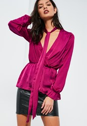 Missguided Pink Hammered Satin Tie Neck Blouse Plum