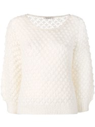 Mes Demoiselles Perforated Knit Jumper White