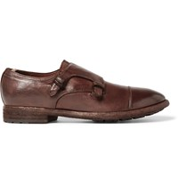 Officine Creative Princeton Grained Leather Monk Strap Shoes Brown