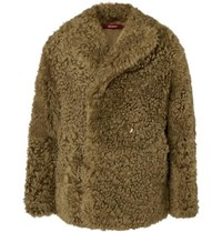 Sies Marjan Emery Tigrado Oversized Double Breasted Shearling Coat Green
