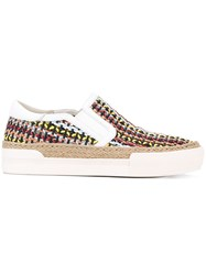 Ash Woven Slip On Sneakers Women Leather Rubber 40 White