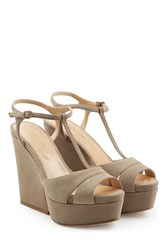 Sergio Rossi Suede Wedge Sandals