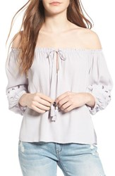 Astr Women's Embroidered Off The Shoulder Top