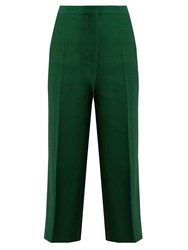 Rochas Crepe Cropped Wide Leg Trousers Green