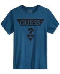Guess Men's Graphic Print T Shirt Blue Wing Teal