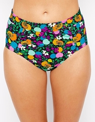 All About Eve Fruity Floral Highwaisted Bikini Bottoms Fruityfloralblack