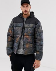 Hype Panelled Hooded Puffer Jacket Green