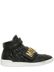 Moschino Logo Quilted Leather High Top Sneakers Black